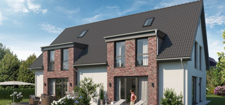 VERKAUFT vor Baubeginn – Architekten-Doppelhaushälfte  auf rückwärtigem Grundstück